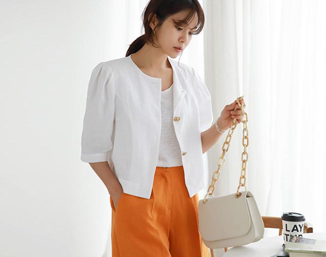 chichera-세련된 그녀들의 선택, 시크헤라[마인버튼퍼프리넨자켓]♡韓國女裝外套