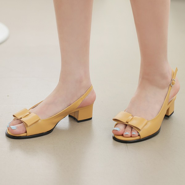 ode-[파우더리 플랫리본 토오픈 쿠션 슬링백]♡韓國女裝鞋