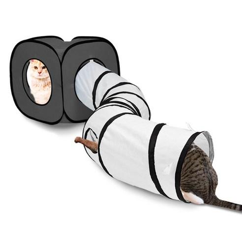 딩동펫 고양이 큐브 터널하우스그레이