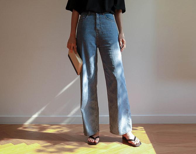 chichera-세련된 그녀들의 선택, 시크헤라[캐롯와이드일자데님팬츠]♡韓國女裝褲