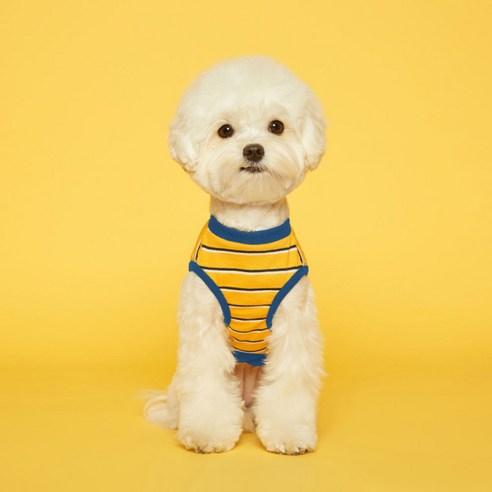 플로트 스탠다드민소매티셔츠 강아지옷옐로우블루