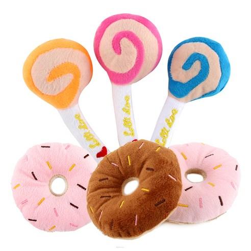 도그아이 반려견용 봉제사탕 3p + 봉제도넛 3p 장난감 세트