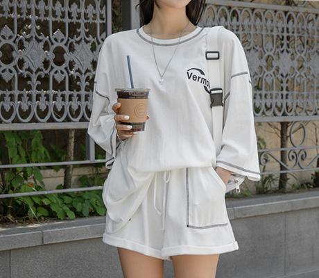 white-fox-[스티치레터링포인트박시핏트레이닝세트]♡韓國女裝套裝