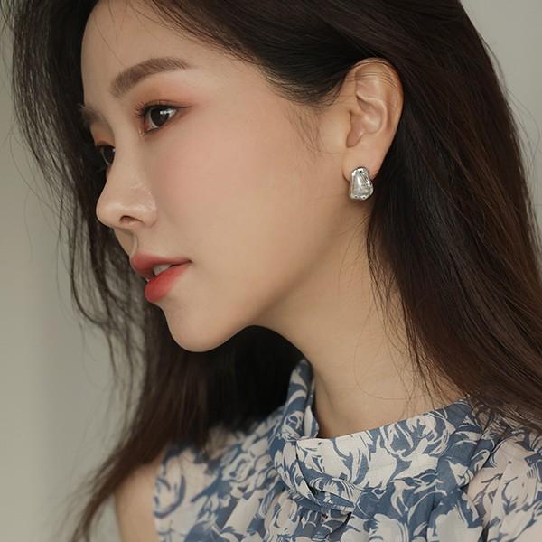 ode-[실버&골드 웨이빙 진주 귀걸이]♡韓國女裝飾品