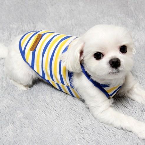 도기코디 강아지 마린 줄무늬 나시블루