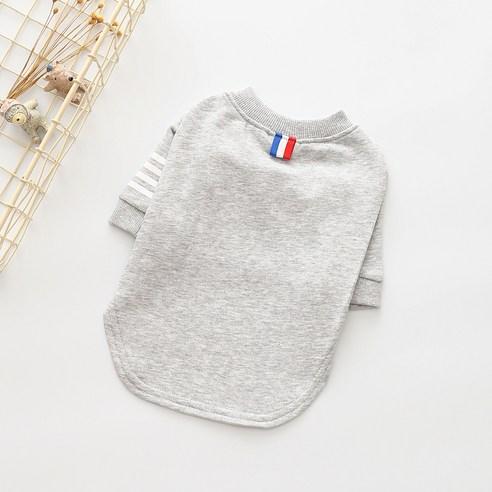 제제펫 심플 라인 포인트 강아지 의류 티셔츠그레이