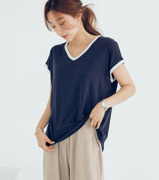 roompacker-룸페커 [[R]쿨링 텐셀 브이넥 티셔츠]♡韓國女裝上衣