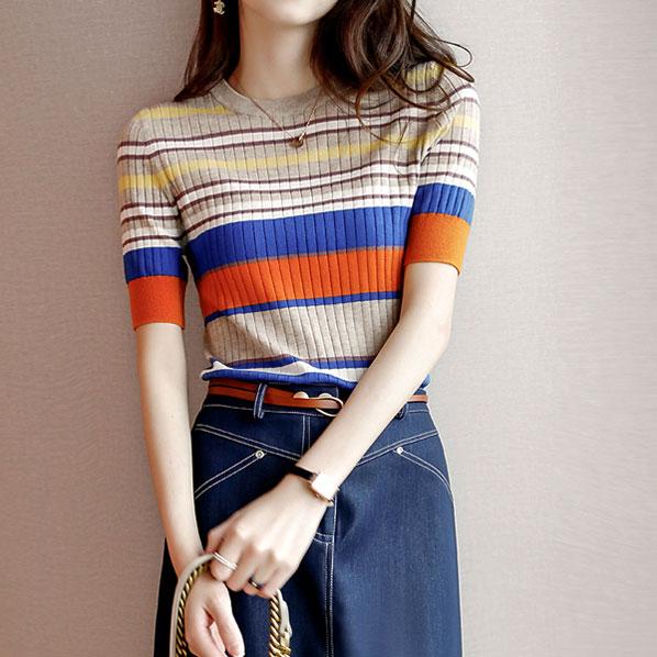 fashion-full-뮤트 스트라이프 슬림핏 반팔 니트(TIME SALE 30%)♡韓國女裝上衣