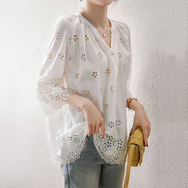fashion-full-빅크 펀칭 헨리넥 블라우스(TIME SALE 20%)♡韓國女裝上衣