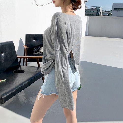 jnroh-티라 뒤트임 여리핏 티셔츠 (화이트,그레이,블랙)♡韓國女裝上衣