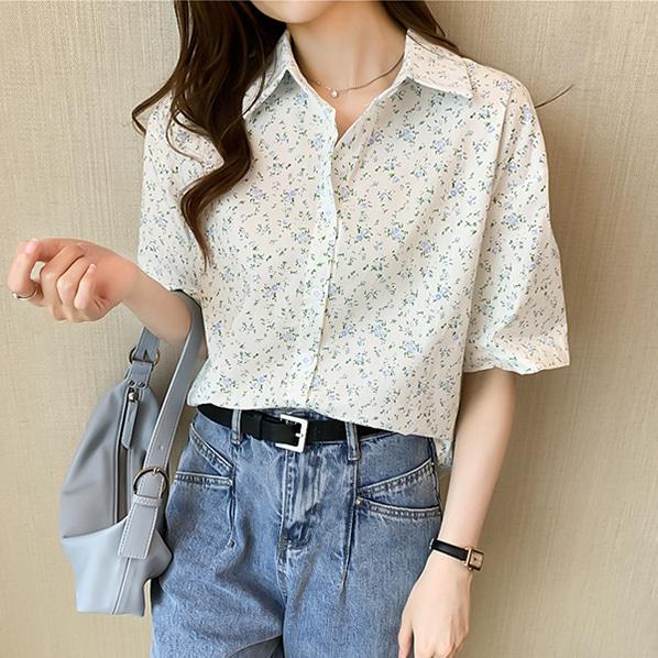 fashion-full-허브티 잔꽃 카라넥 반팔 셔츠(TIME SALE 20%)♡韓國女裝上衣