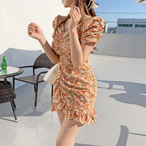 jnroh-엘로리 잔꽃 플라워 셔링 퍼프 프릴 리본끈 미니 원피스 (오렌지,옐로우,보라)♡韓國女裝連身裙