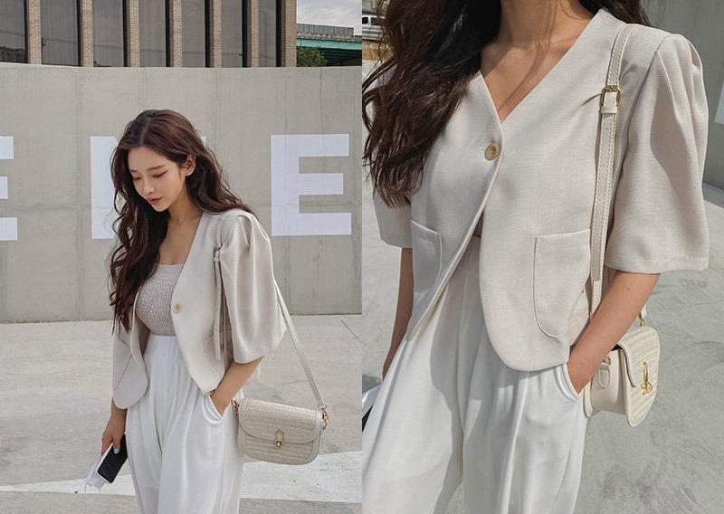 maybins-드레인 반팔 자켓♡韓國女裝外套
