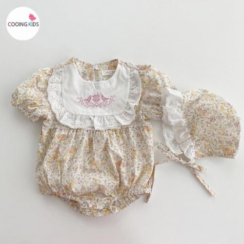 cooingkids-베이비옷 - T레이스자수슈트(보넷세트)♡韓國幼兒裝
