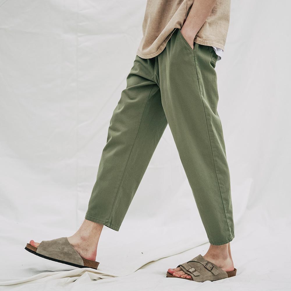 fairplay142-[[더블유브이프로젝트]플레인(여름용) 코튼 밴딩 팬츠 카키 CJLP7509]♡韓國男裝褲子