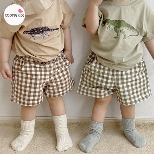 cooingkids-T센트체크팬츠♡韓國童裝褲
