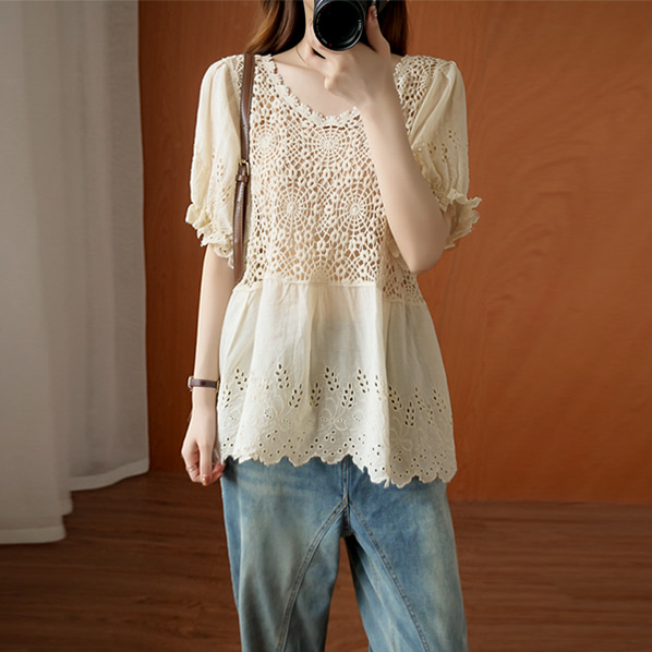 fashion-full-로디 뜨개 펀칭 블라우스 (TIME SALE 20%)♡韓國女裝上衣