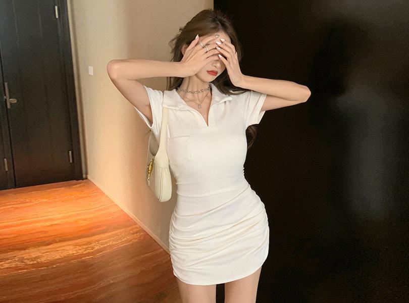 uuzone-예쁜 볼륨핏 어필하는 카라원피스! 포클리원피스 미니원피스 셔링 셔링원피스 카라원피스 섹시원피스 데일리원피스 섹시룩 데일리룩 클럽룩♡韓國女裝連身裙