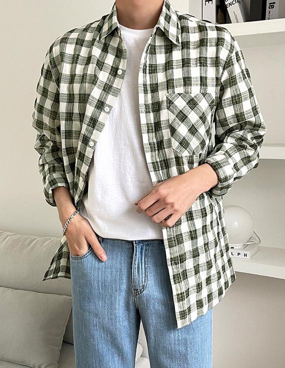 jogunshop-[클러빈 체크 셔츠M~L(95~105)]♡韓國男裝上衣