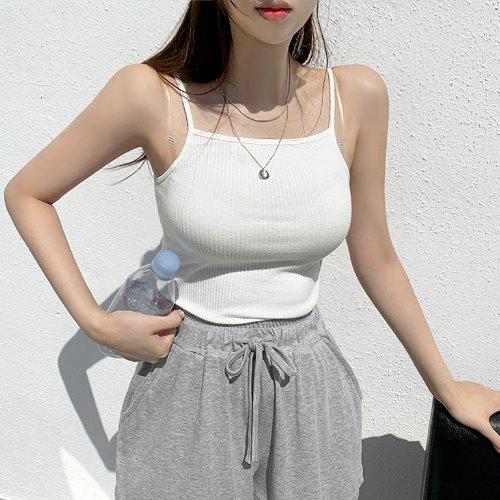 jnroh-트엔 스퀘어넥 홀터 골지 끈나시 (아이보리,블랙)♡韓國女裝上衣