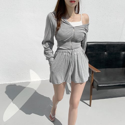 jnroh-퍼틀 크롭 후드 집업 밴딩 숏팬츠 꾸안꾸 투피스 세트 (핑크,베이지,그레이,블랙)♡韓國女裝套裝