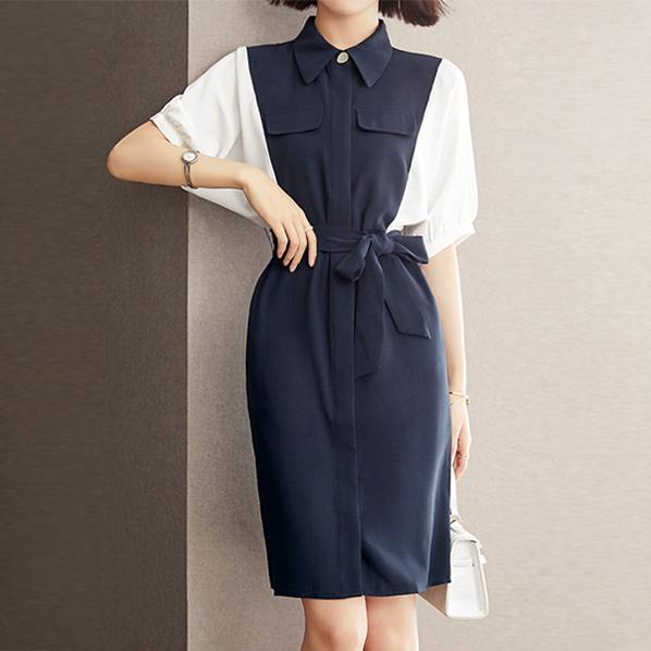 fashion-full-인숍 배색 스트랩 원피스(TIME SALE 20%)♡韓國女裝連身裙