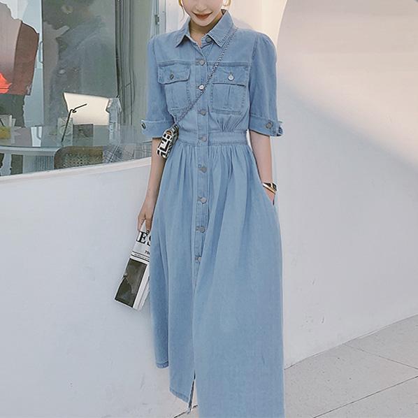 fashion-full-옐런 데님 카라 원피스 (TIME SALE 20%)♡韓國女裝連身裙