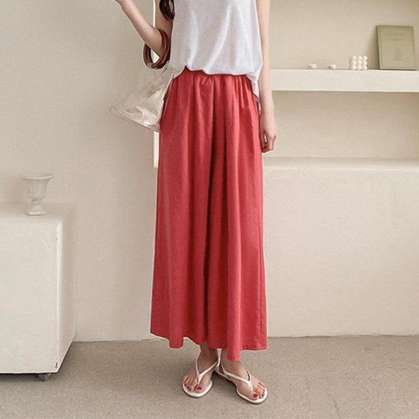 fashion-full-사이드 핀턱 린넨 와이드 밴딩 팬츠(TIME SALE 10%)♡韓國女裝褲