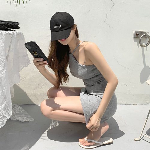 jnroh-체콕 홀터 쫀쫀 슬림핏 원피스 (그레이,블랙)♡韓國女裝連身裙
