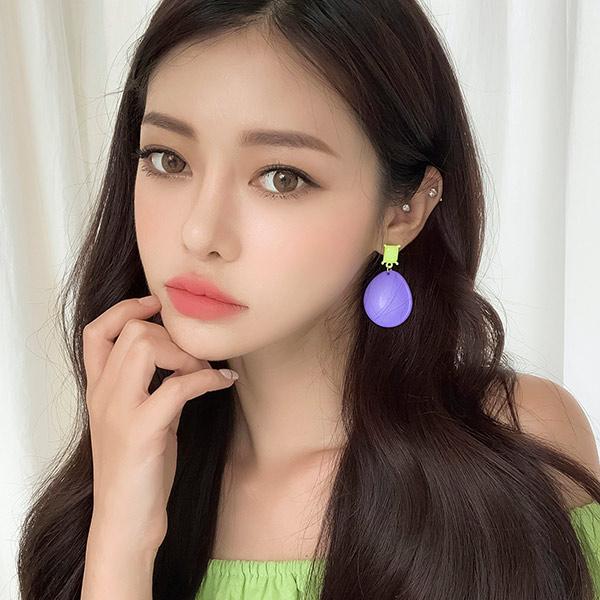 soo-soo-[포도젤리 컬러드롭귀걸이 (19E697) [2color]]♡韓國女裝飾品