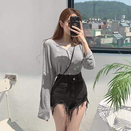 jnroh-페이로 찰랑 썸머 브이넥 루즈핏 심플 가디건 (아이보리,그레이,블랙)♡韓國女裝外套