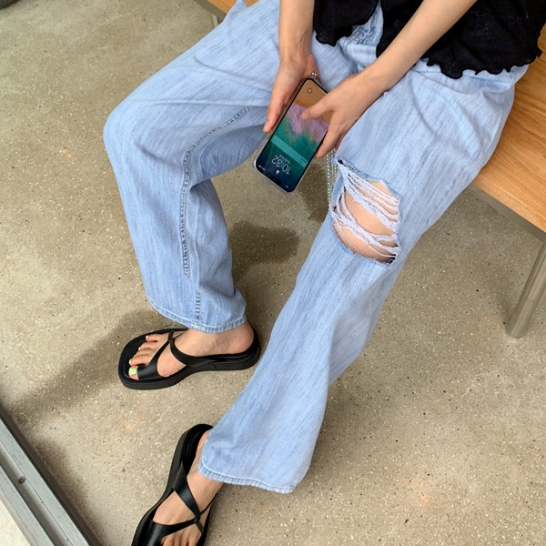 66girls-[M] 썸머찢청와이드롱팬츠♡韓國女裝褲