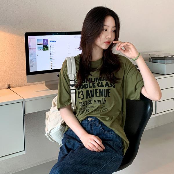 66girls-믹스독반팔T♡韓國女裝上衣