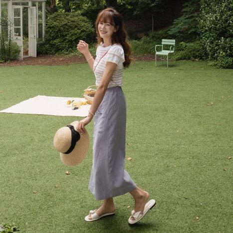 leelin-[캔디빈 하늘하늘 소매프릴 단가라 티 [size:F(55~66)] ]♡韓國女裝上衣