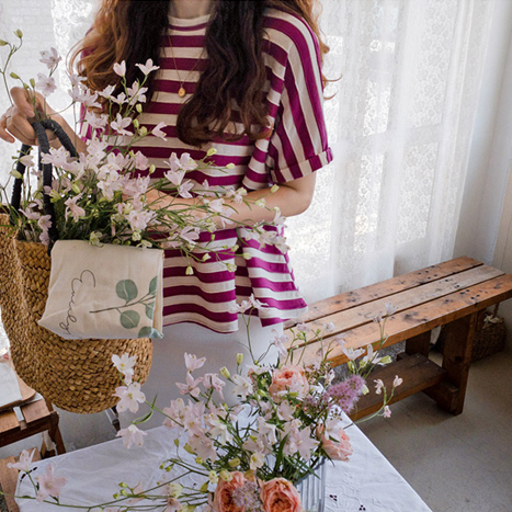 leelin-[니콜슨 후레아 단가라 티[size:F(55~66)]]♡韓國女裝上衣