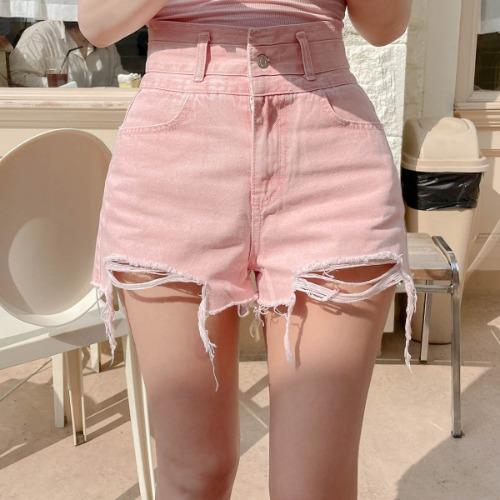 zanne-[LEXY] 밑단 헤짐 하이웨스트 데님 숏팬츠 반바지(핑크/진청) - 잔느♡韓國女裝褲
