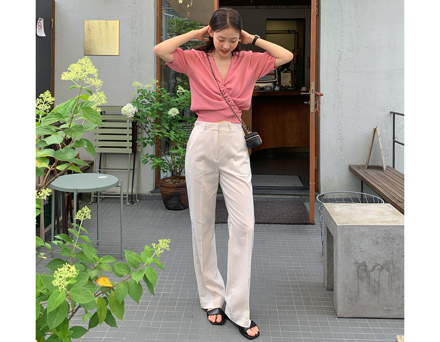 frombeginning-텐션 슬림일자롱슬랙스 (3color)♡韓國女裝褲