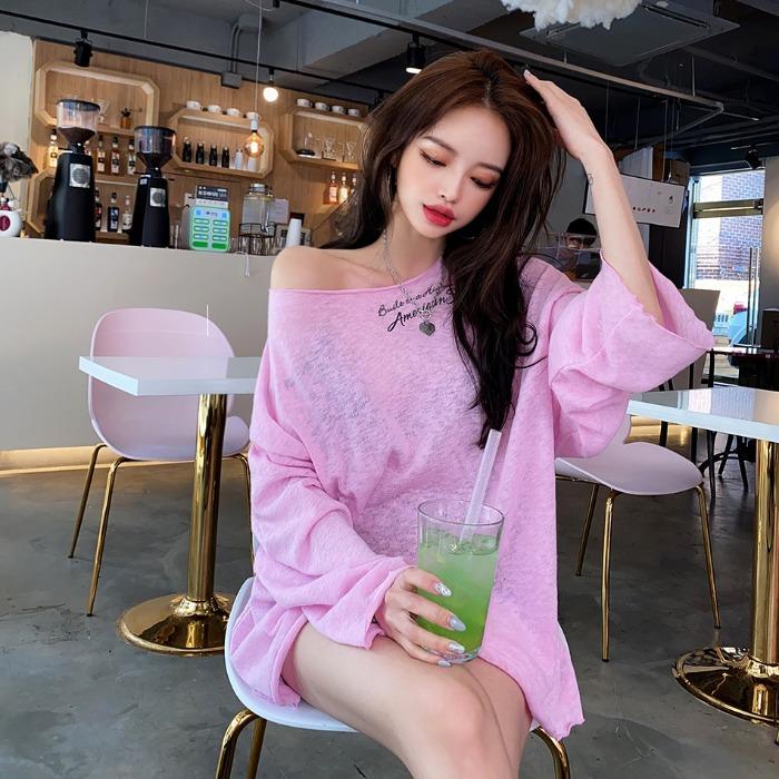choper-레터링린넨루즈핏티♡韓國女裝上衣