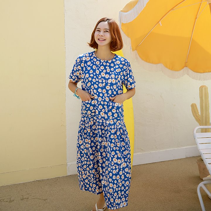 lemite-PL-쿨플라워 포켓원피스(1차수량당배송)♡韓國女裝連身裙