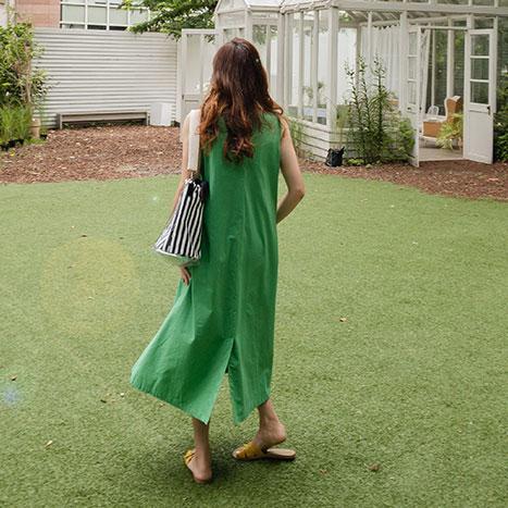 leelin-[애플민트 백버튼 린넨 나시 원피스[size:F(55~66)]]♡韓國女裝連身裙