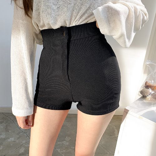 jnroh-니쥬 쫀쫀 하이웨스트 스판 숏팬츠 반바지(아이보리,블랙)♡韓國女裝褲