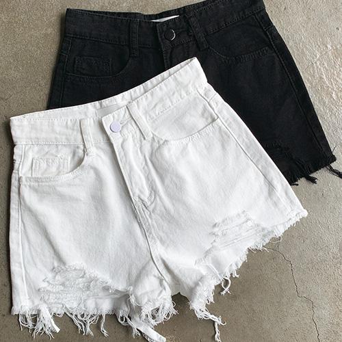 jnroh-비키 데미지 트임 하이 코튼 숏팬츠(화이트,블랙)♡韓國女裝褲