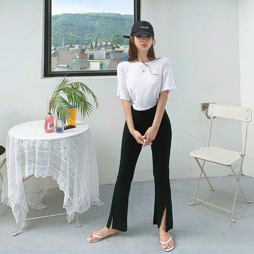 jnroh-(밴딩) 져스 부츠컷 트임 골지 레깅스 팬츠 (그레이,블랙)♡韓國女裝褲