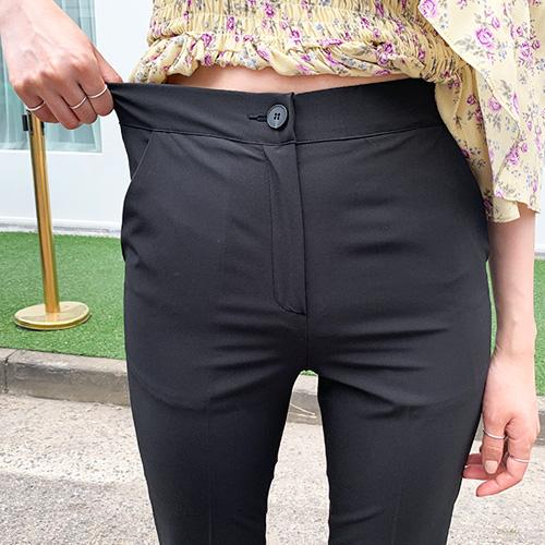 jnroh-데얼즈 허리밴딩 썸머 스판 슬림핏 일자 8부 블랙 슬랙스(S,M,L)♡韓國女裝褲
