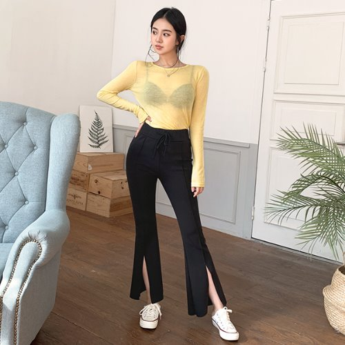 jnroh-마카 트임 부츠컷 밴딩 레깅스 팬츠(그레이,블랙)♡韓國女裝褲
