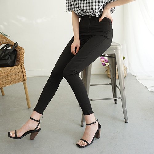 jnroh-리안 쿨원단 리얼 하이웨스트 블랙 스키니 팬츠(S,M,L)♡韓國女裝褲