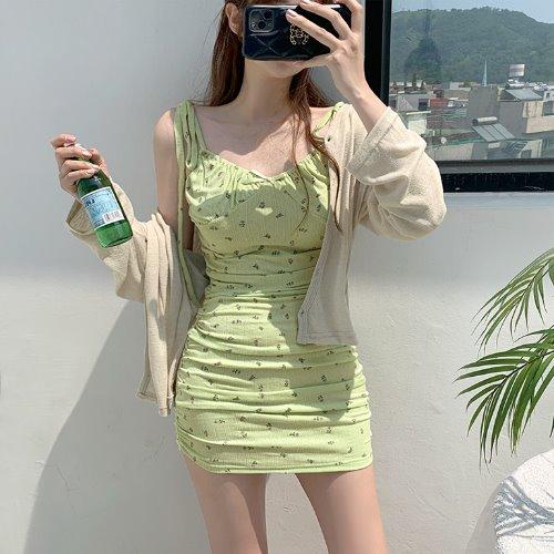 jnroh-빌트 잔꽃 플라워 셔링 리본 끈 원피스 (아이보리,연두,핑크)♡韓國女裝連身裙