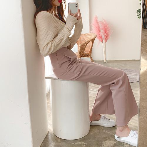 jnroh-글로우 하이웨스트 부츠컷 롱 슬랙스 팬츠(아이보리,핑크,블랙)♡韓國女裝褲