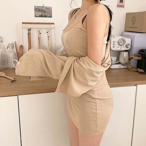 jnroh-포비 가디건 끈원피스 투피스 세트(베이지,그레이,블랙)♡韓國女裝連身裙套裝