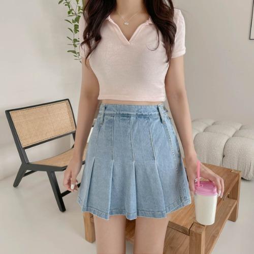 zanne-[LEXY] 타올 카라 크롭 니트 티 (소재 꼭 확인해 주세요!) - 잔느♡韓國女裝上衣